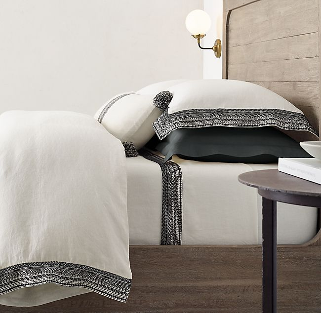 Millou Embroidered Linen Bedding Collection