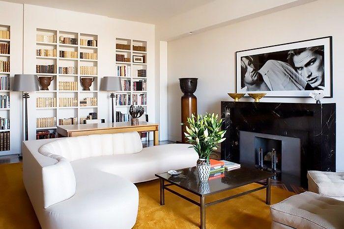 curved white sofa