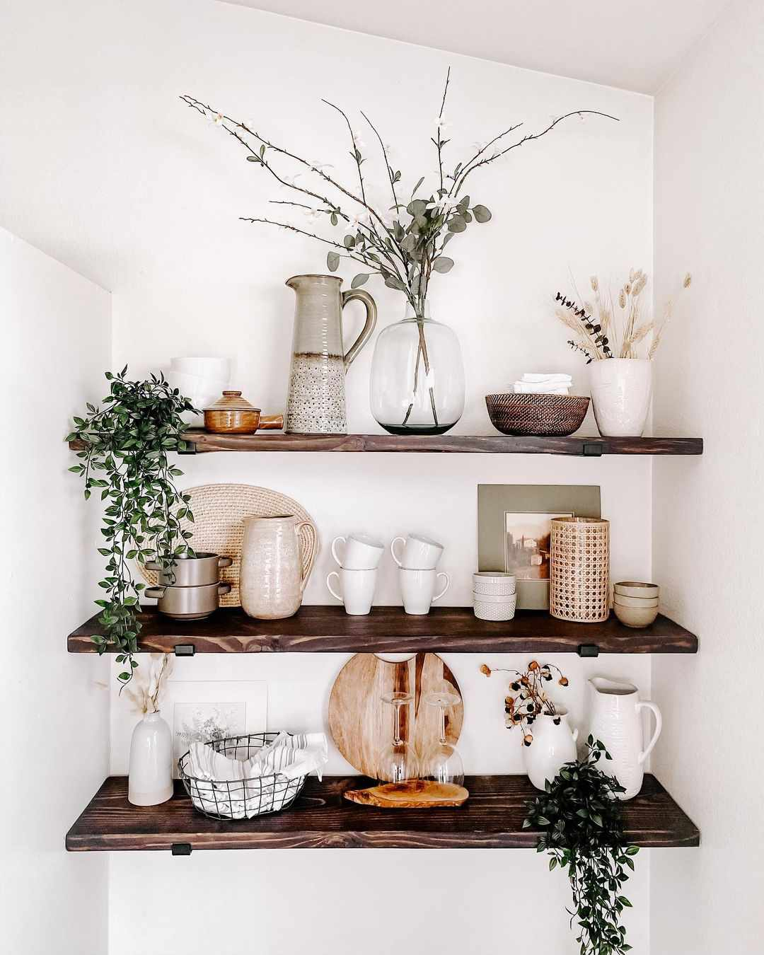 Open shelving with glassware.