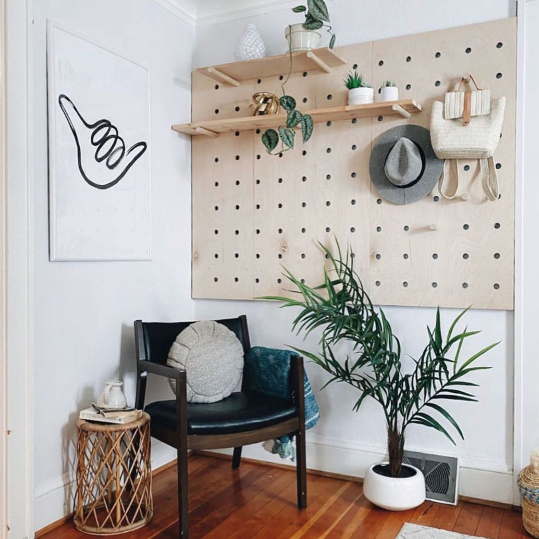 Peg board with shelves