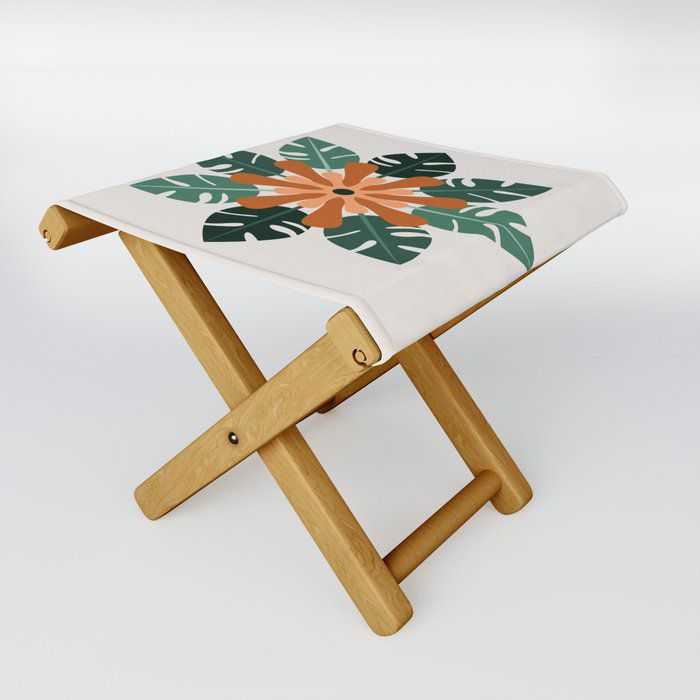 Tropical Flower Folding Stool