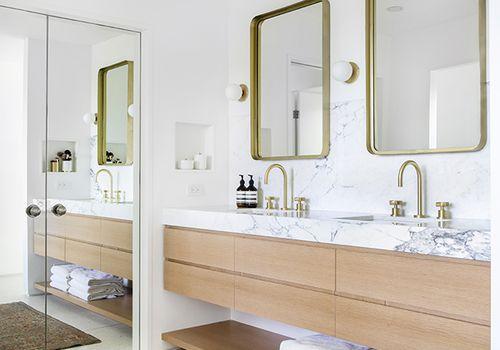 master bathroom with floating vanity