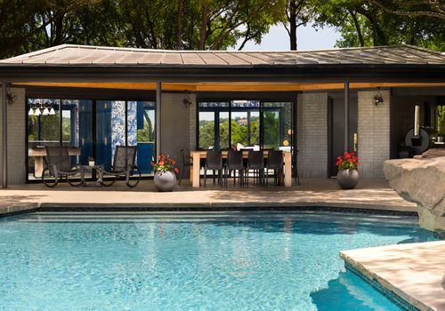 Exterior view of pool house.