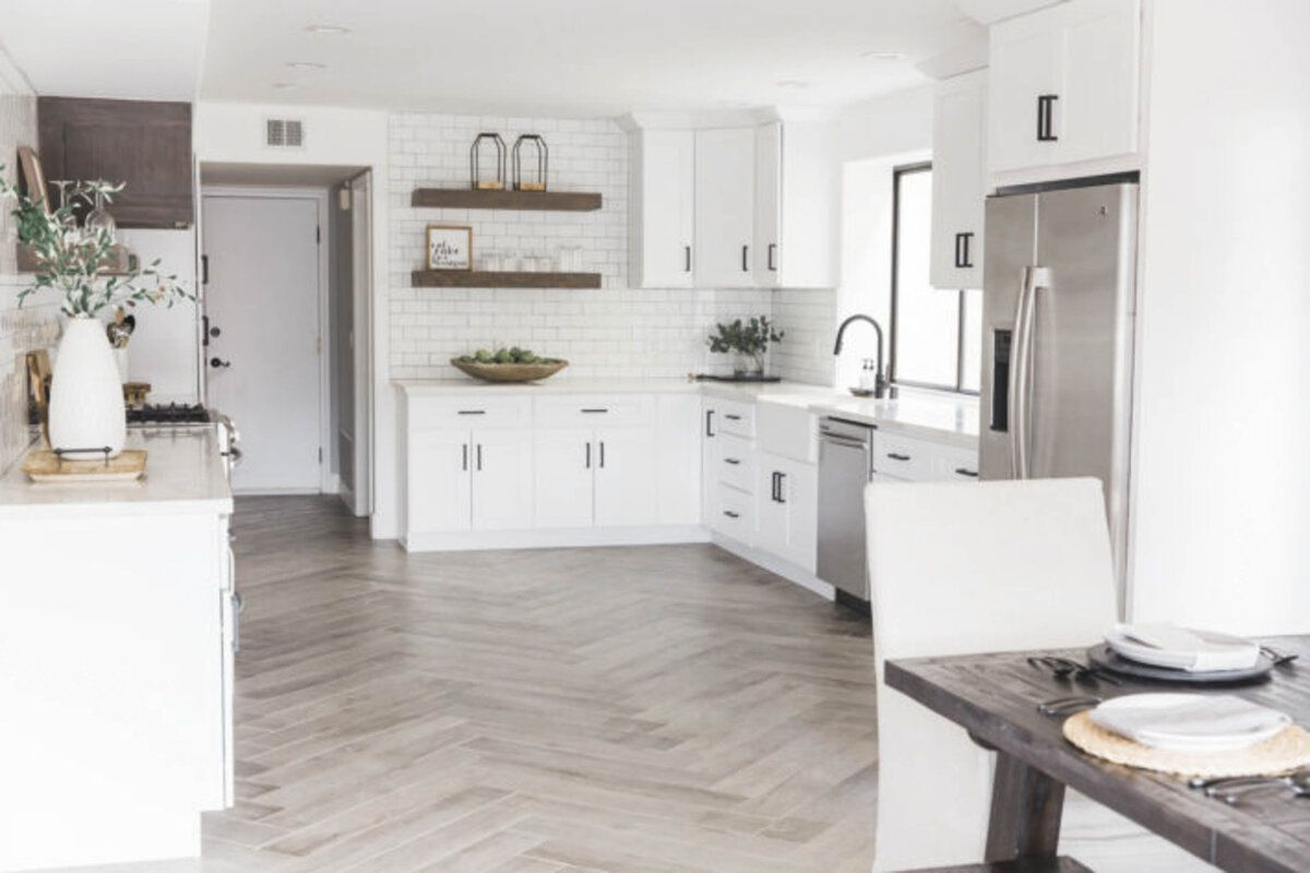 Kitchen with subway tile and black grout