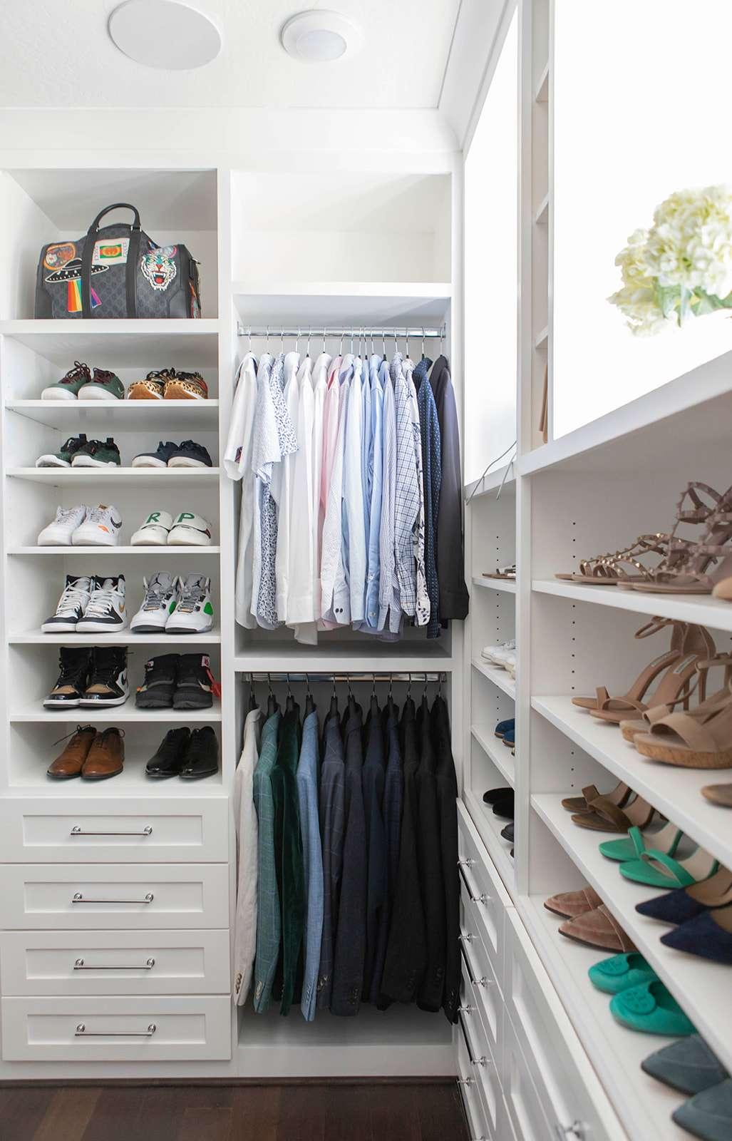 Open closet with plenty of open shoe storage