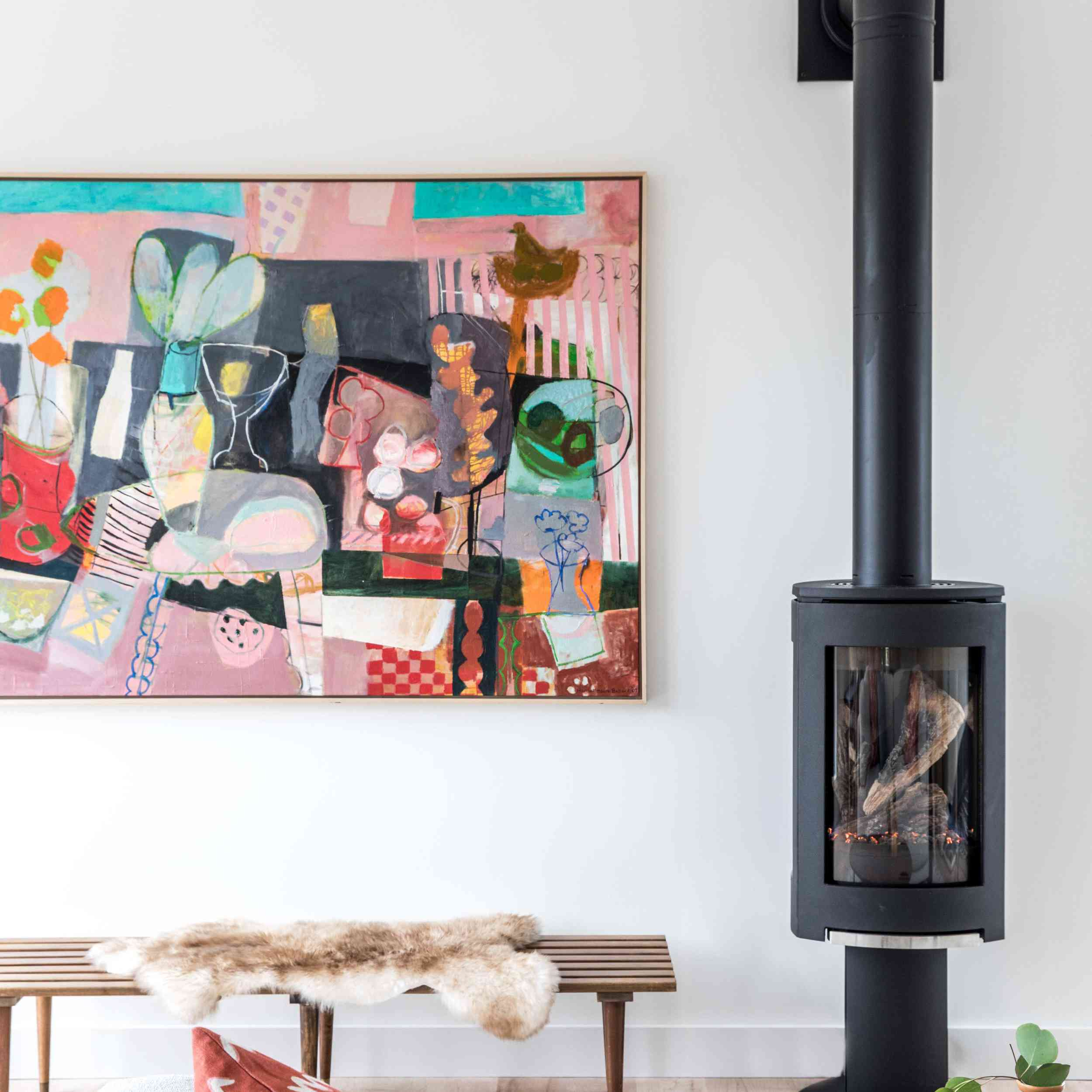 Mid-Century Modern styled living room with modern wood stove