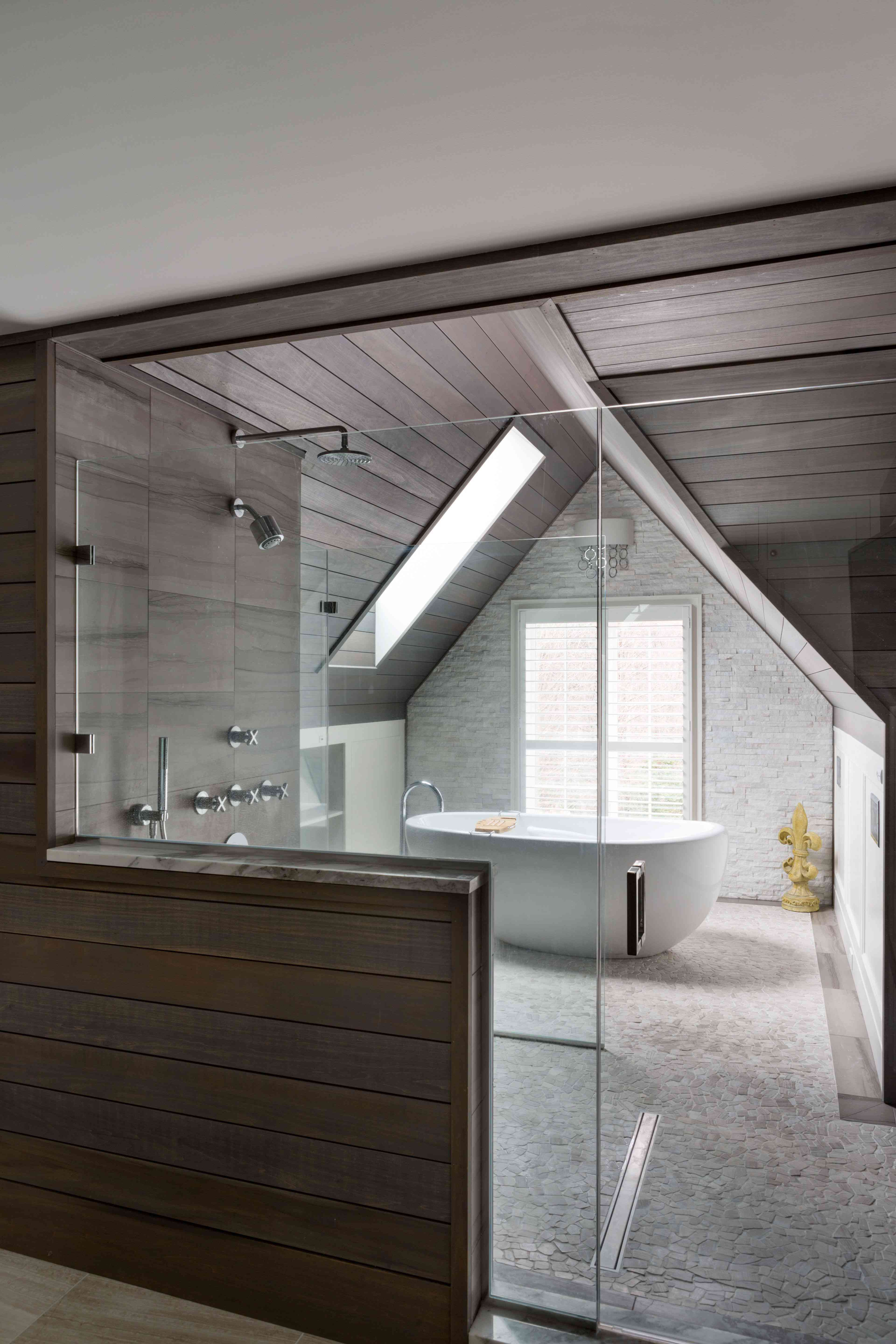 Rustic bathroom with sloped ceiling