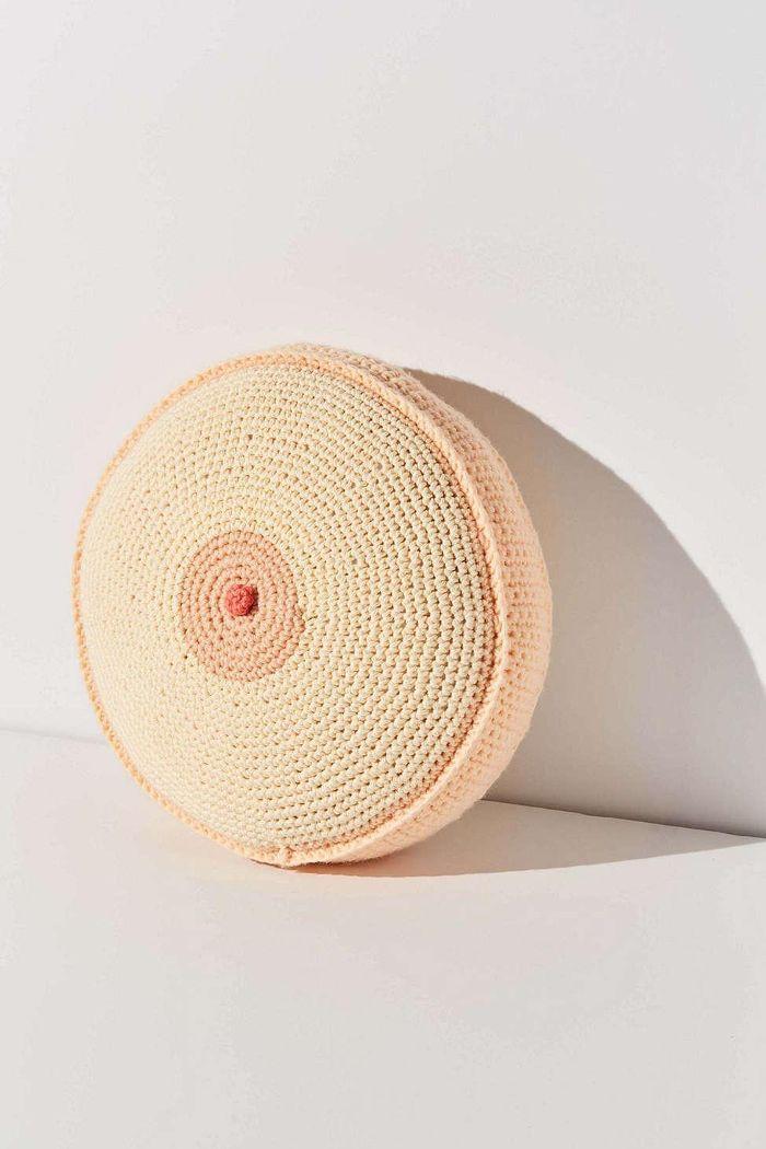 Handmade Crocheted Boob Throw Pillow