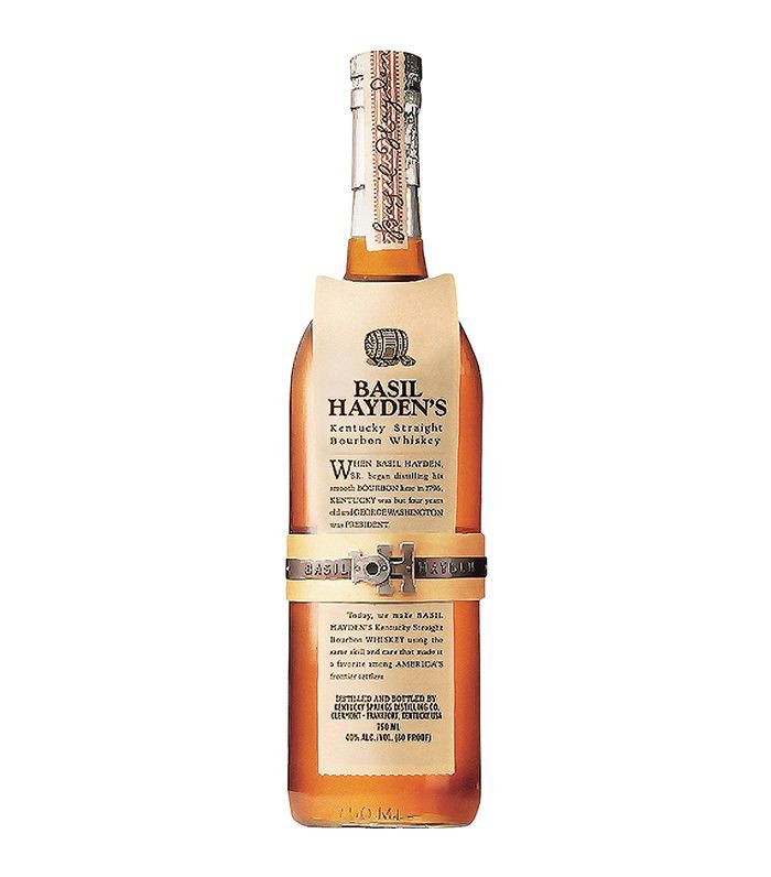 A bottle of Basil Hayden's Kentucky Straight Bourbon Whiskey.