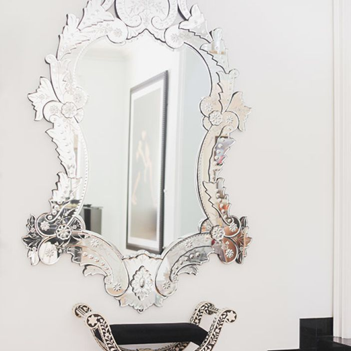 Luxurious silver mirror.