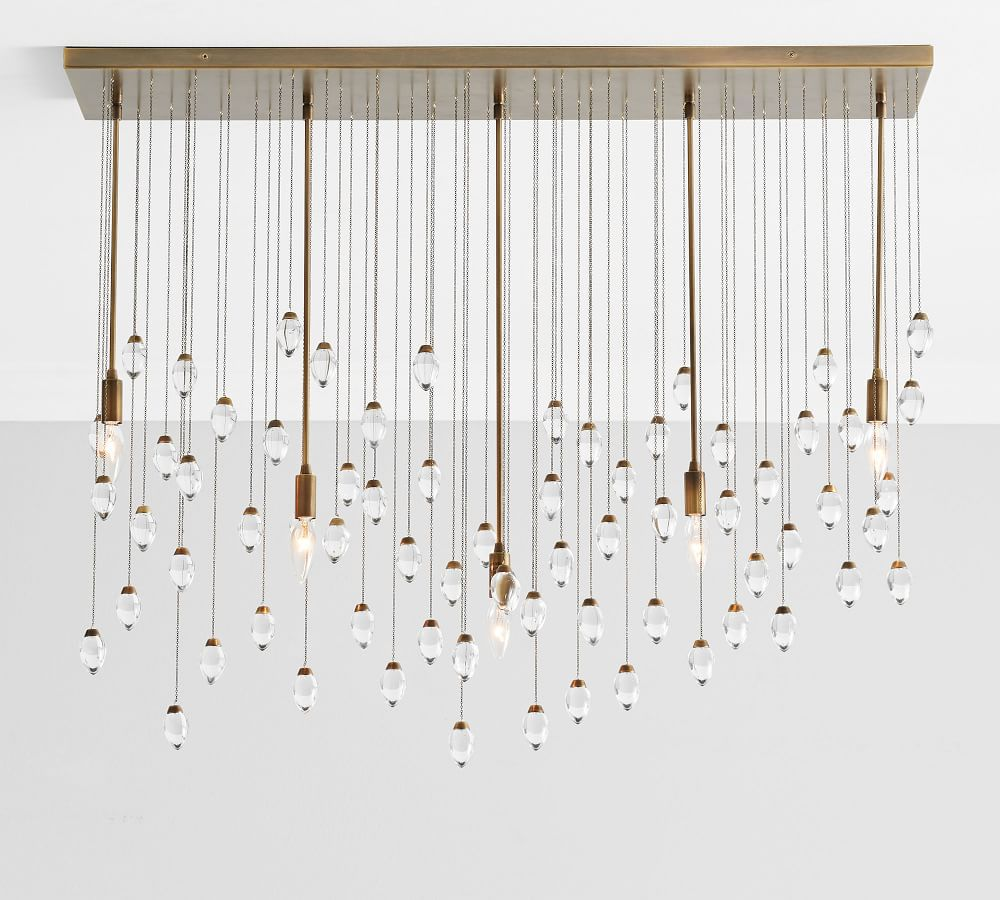 A large chandelier made up of tons of smaller pendants, currently for sale at Pottery Barn