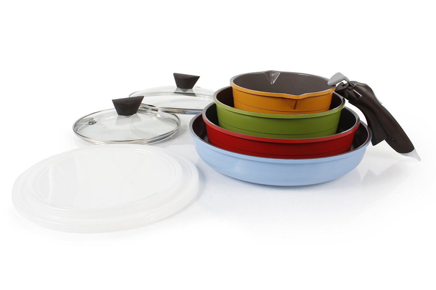 Neoflam Midas 9-piece Ceramic Nonstick Cookware Set with Detachable Handle, Multicolored, Space-Saving
