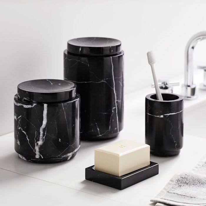 West Elm Black Marble Bath Accessories—Bathroom Color Trends