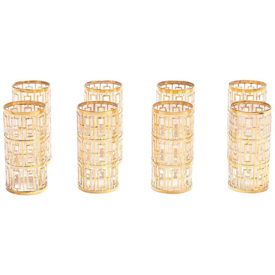 Shoji Highball Glasses 22-Karat Gold 1960s