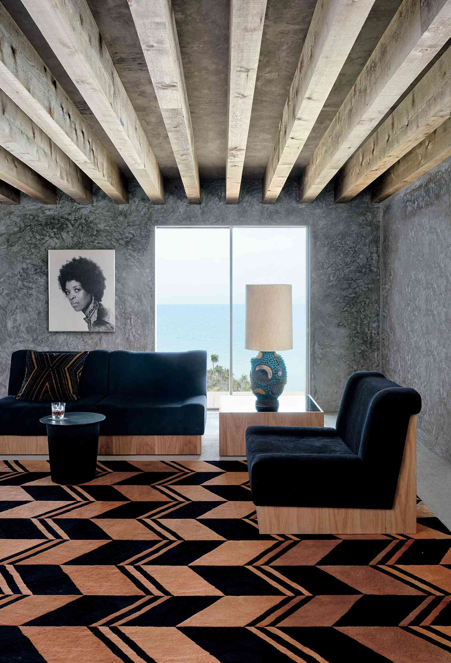 lenny kravitz x cb2 collection - seating arrangement with armless chairs
