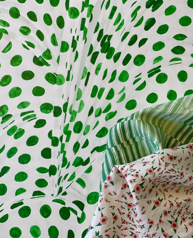 Green polka dot fabric.