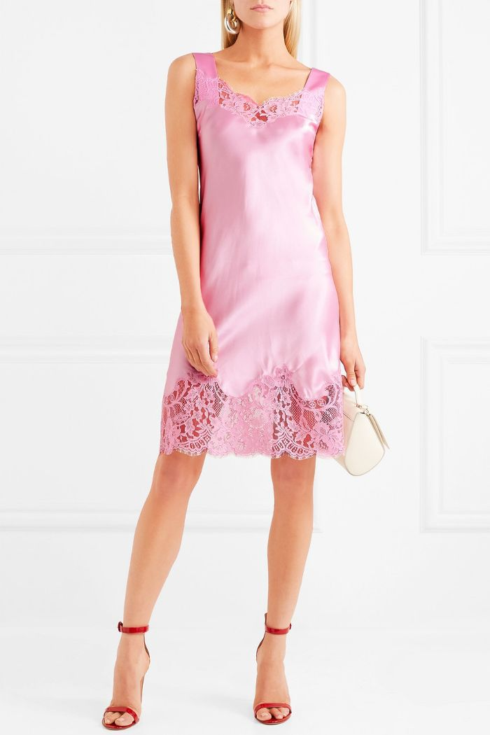 Lace-trimmed Silk-satin Mini Dress
