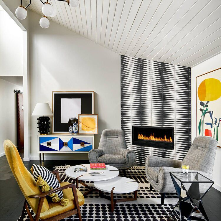 Modern living room with black lamp.