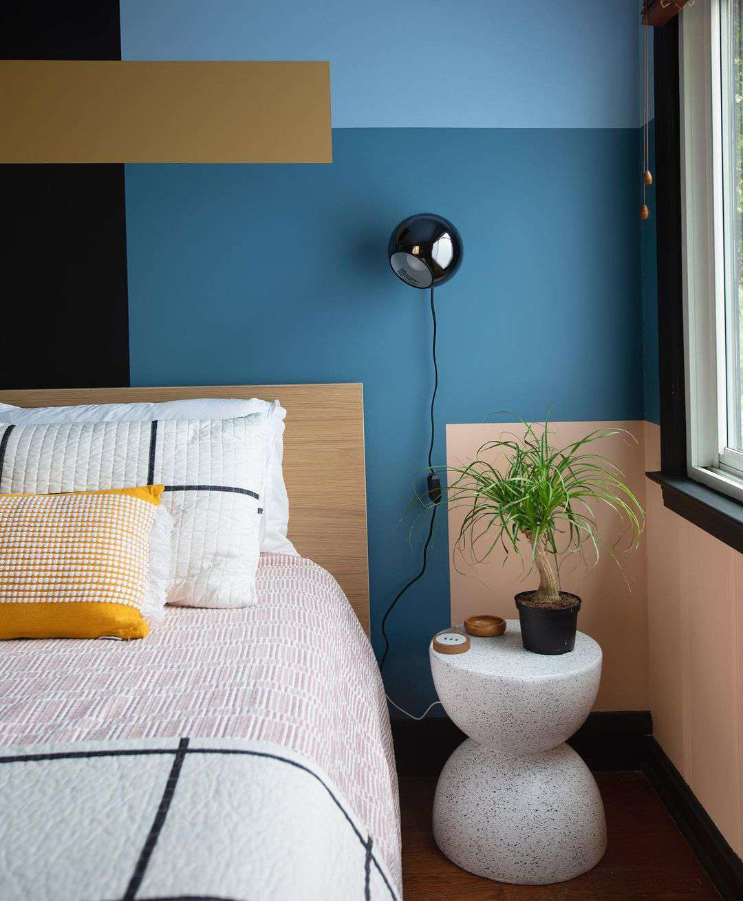 Bedroom with mural wall paint