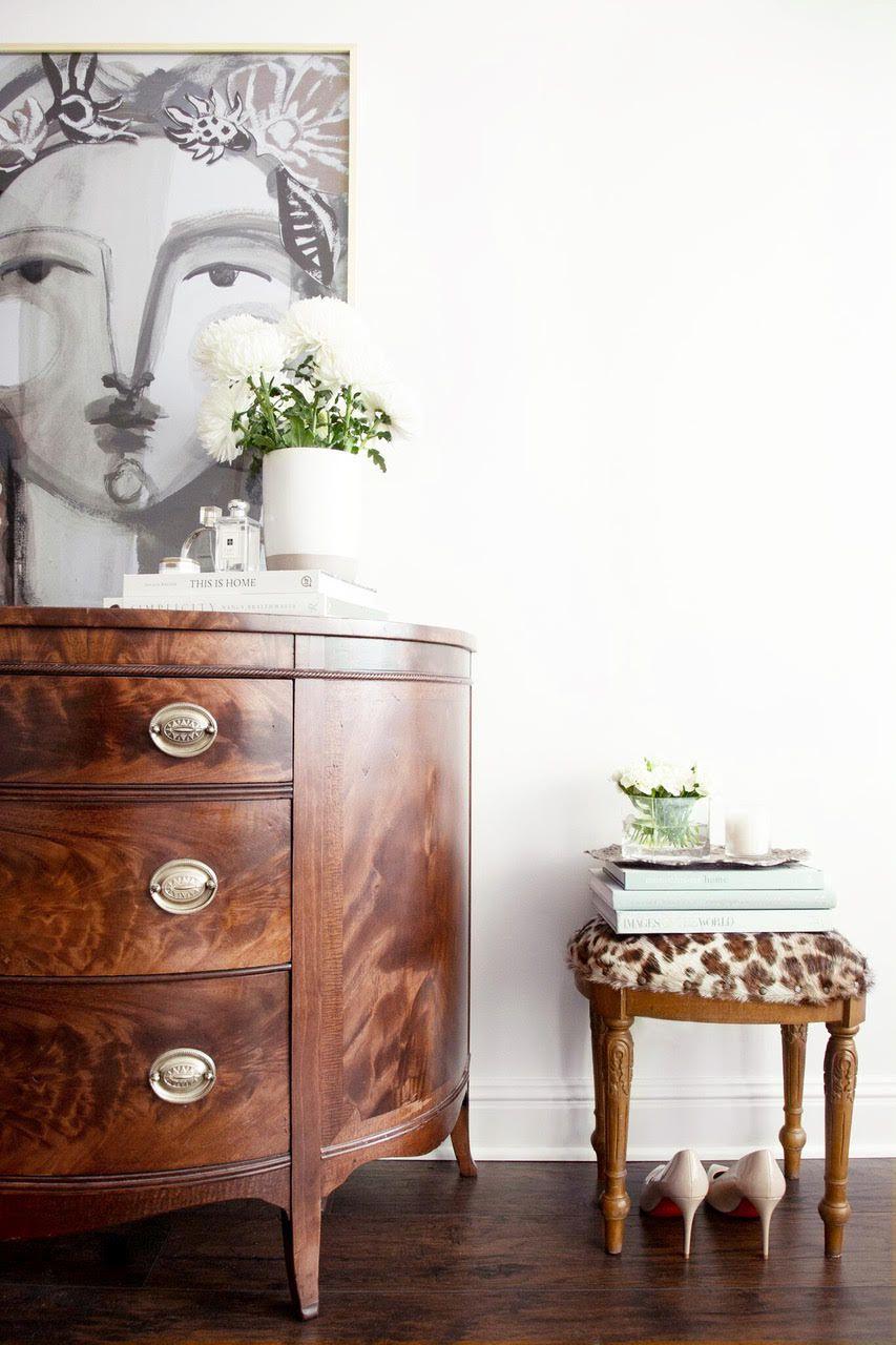 Antique dresser and stool.
