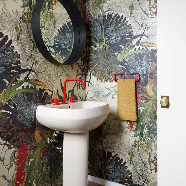 Small bathroom with bold wallpaper