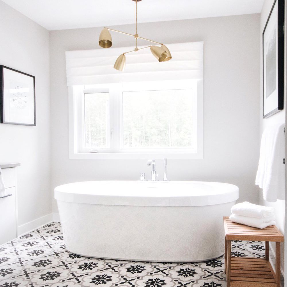 White bathroom with patterned floor