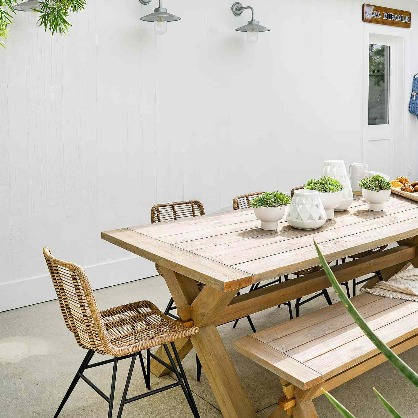 Wooden outdoor dining table.