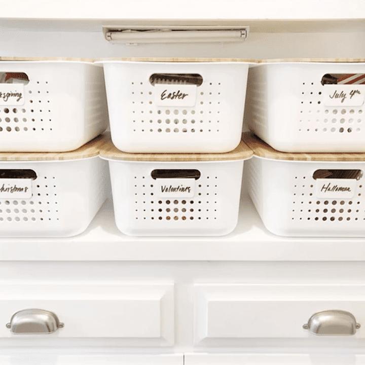 Seasonal storage bins.
