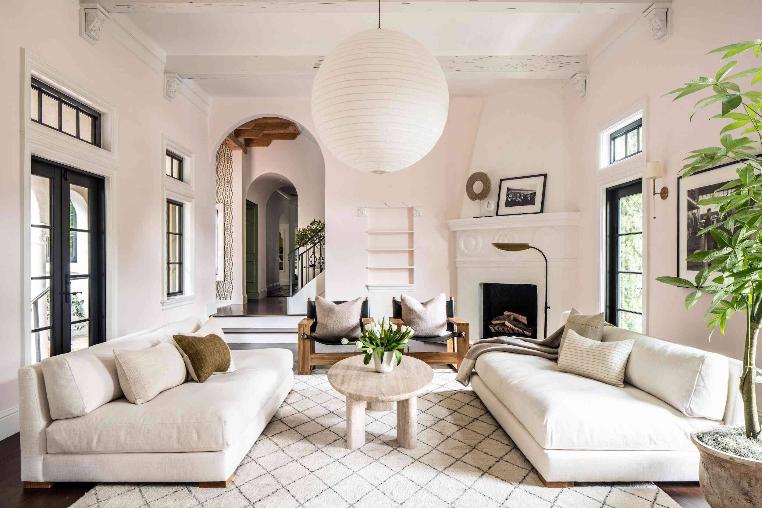 Living room with fireplace in the corner
