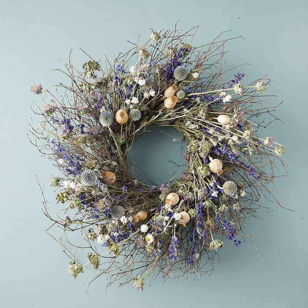 Terrain Preserved Blue Poppy Wreath