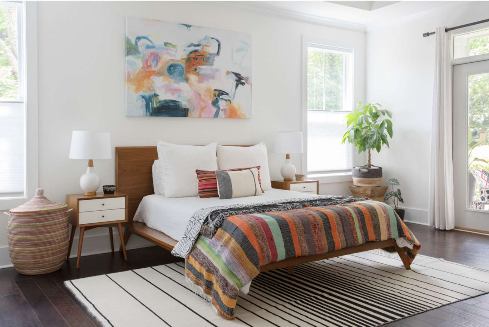 bedroom with midcentury modern accents