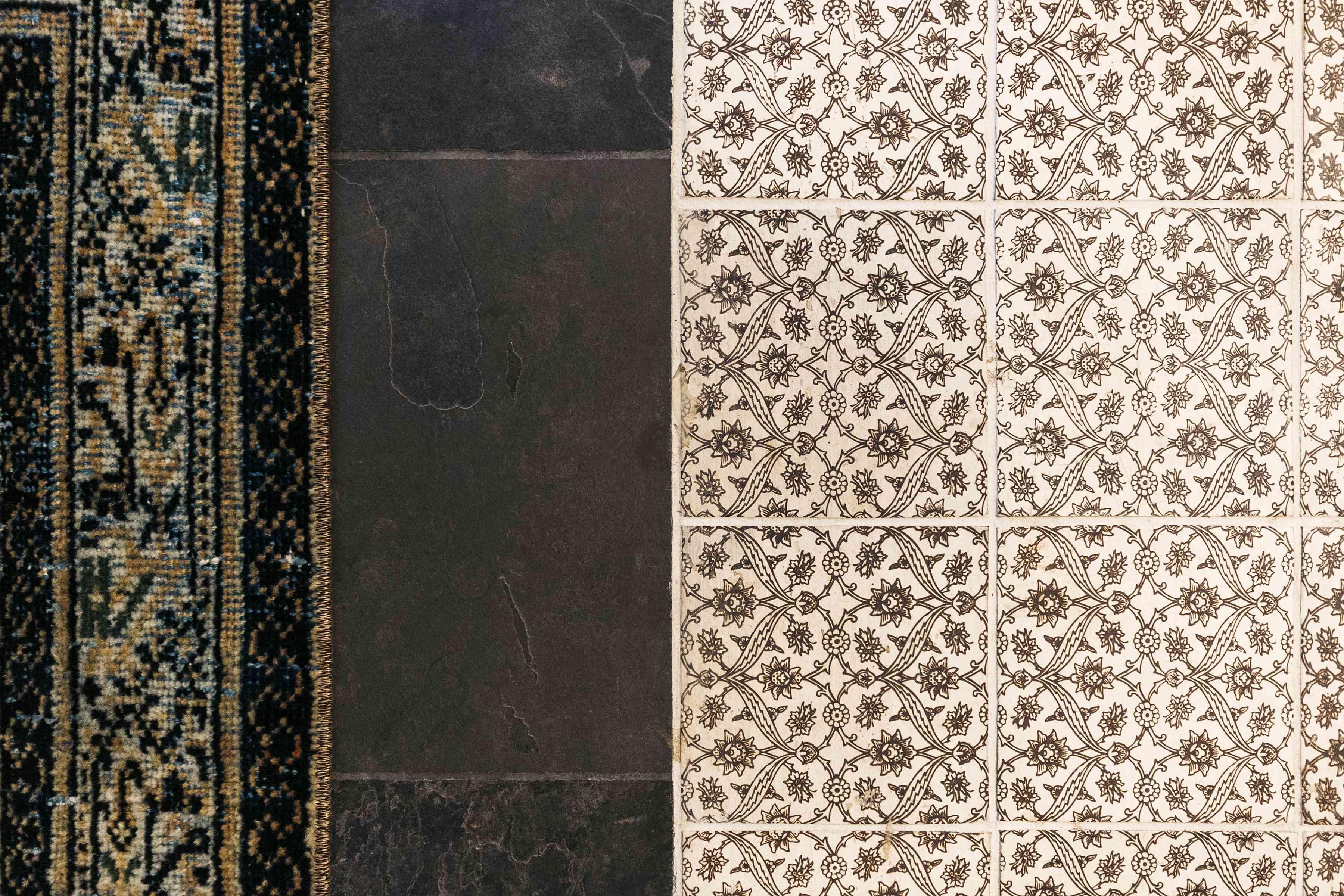 Brett Foken home tour - closeup of handmade tile in the guest bathroom