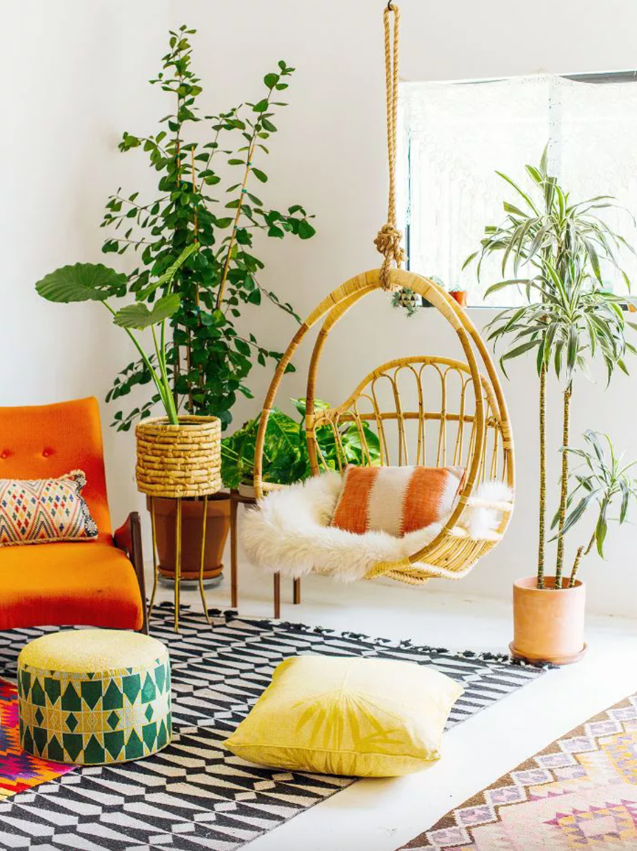 Bohemian-inspired living room with hanging swing chair