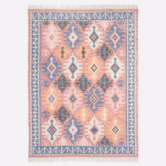 A pink printed rug