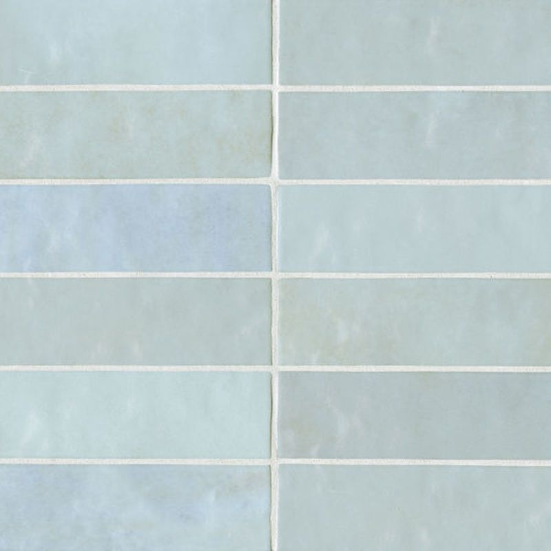 A series of light blue tiles you can buy at Bedroisians Tile & Stone