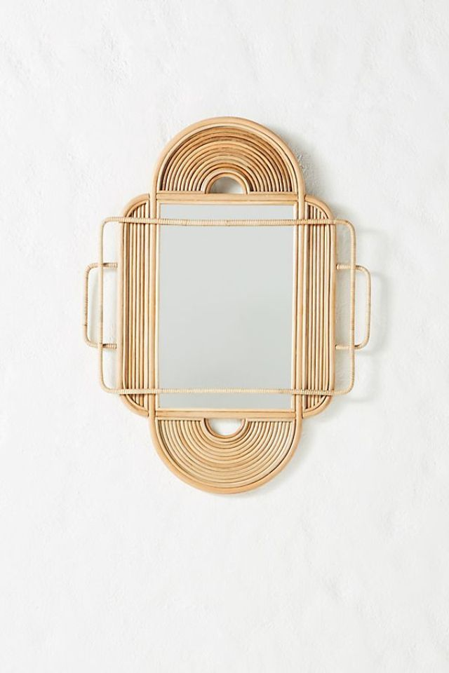 Anthropologie Sculpted Rattan Mirror