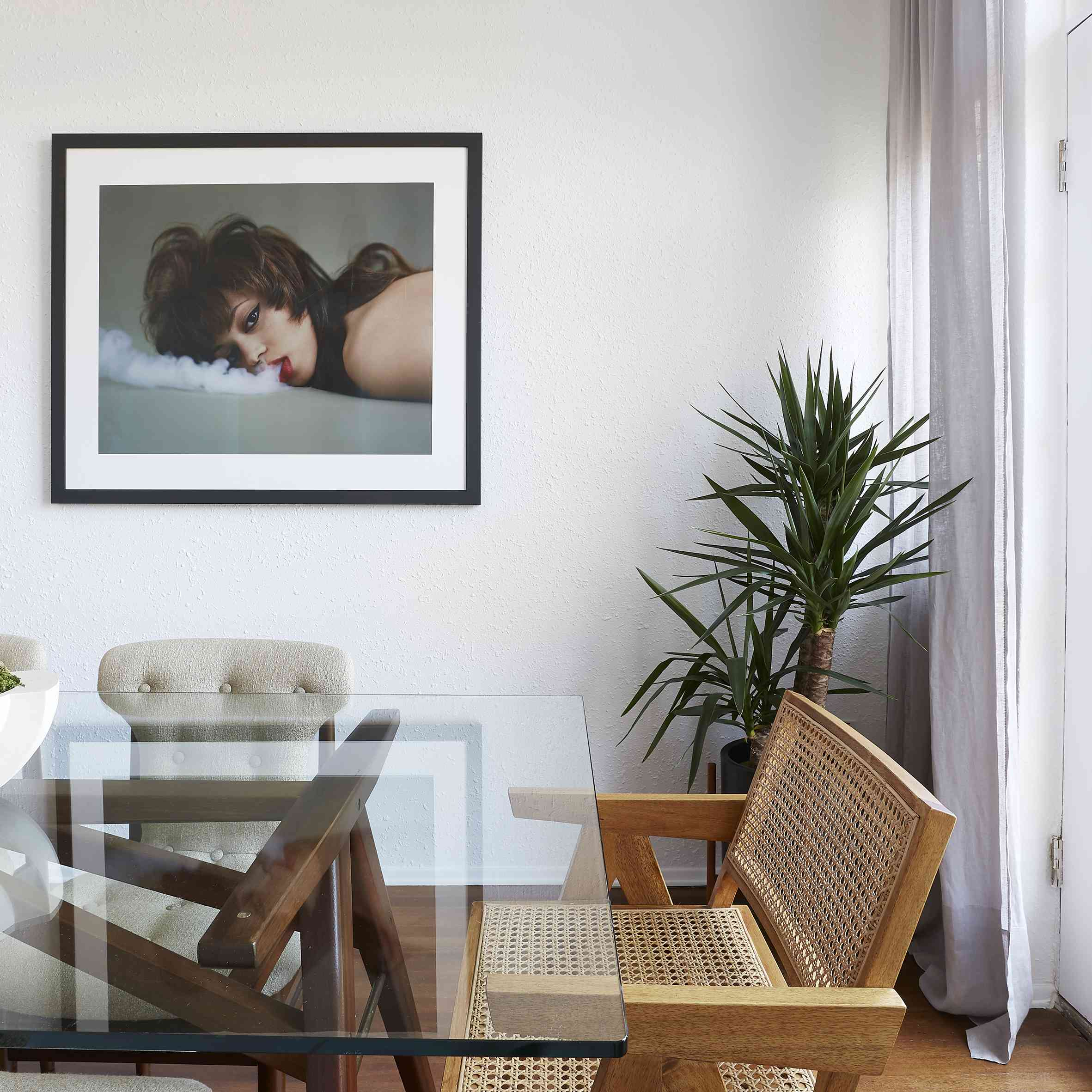 dining room with edgy framed photograph