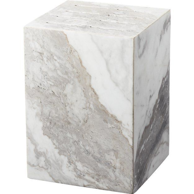CB2 Pillar White Marble Knife Block