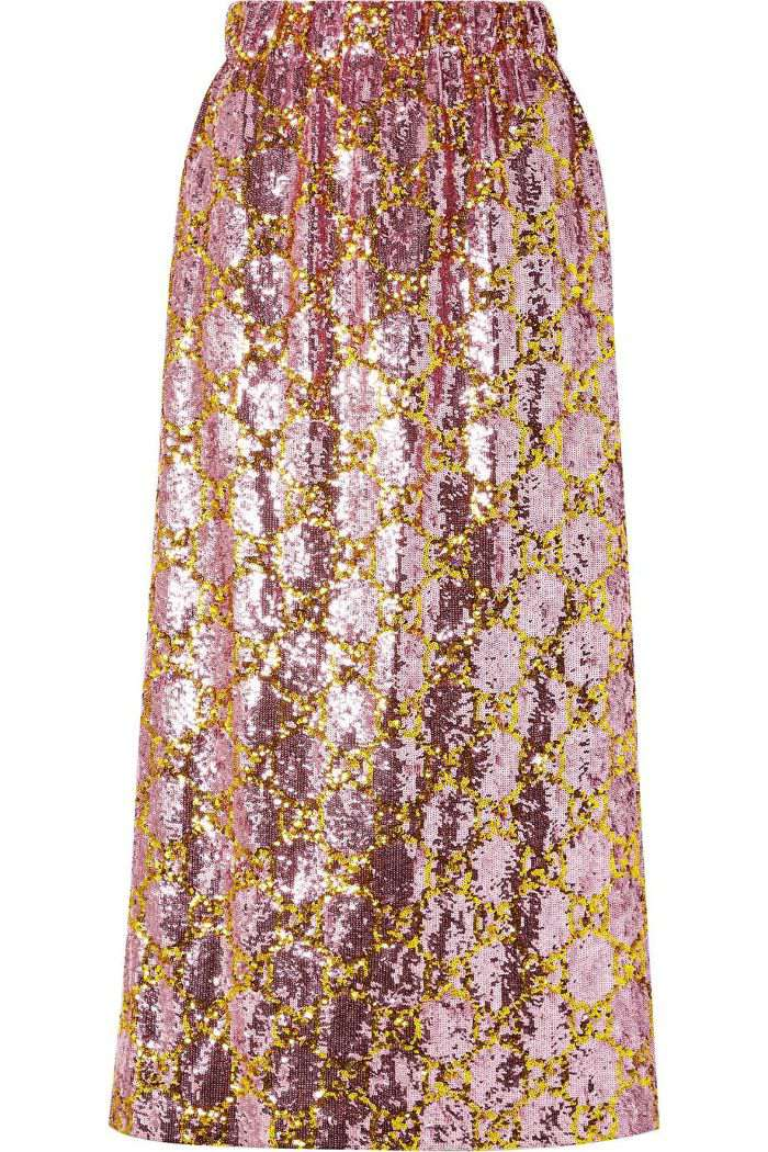 Gucci Sequined Tulle Midi Skirt