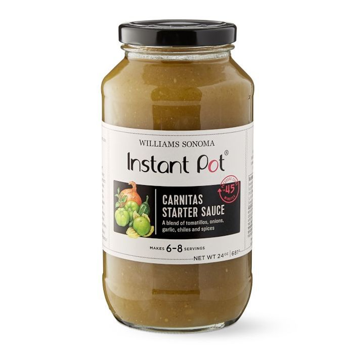 A jar of pureed sauce and spices, entitled Instant Pot Carnitas Starter Sauce.