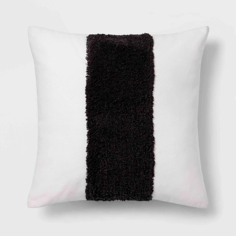 pillow with faux fur stripe