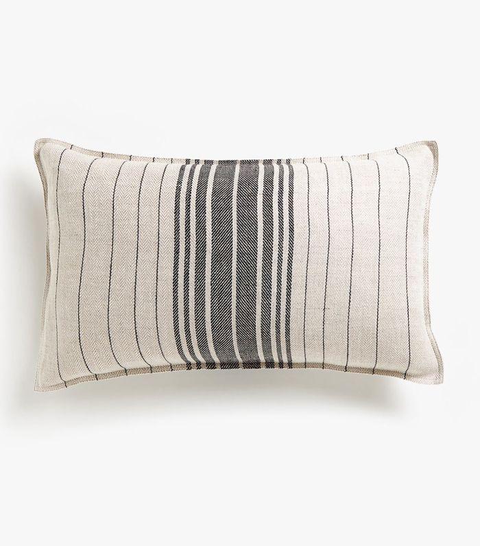 Zara Home Striped Linen Cushion Cover