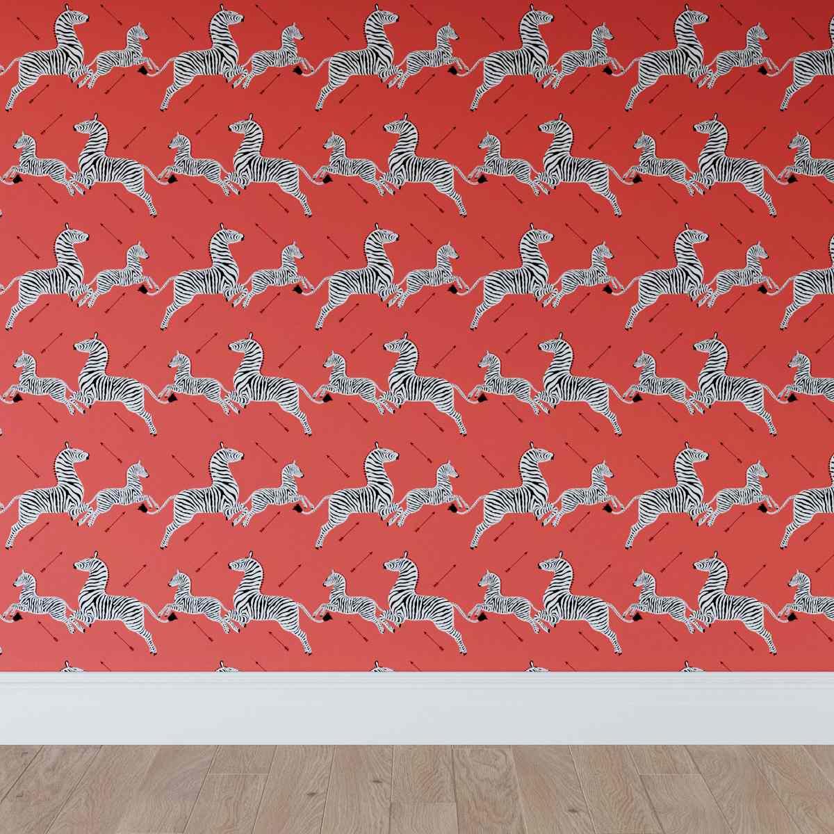coral zebra wallpaper