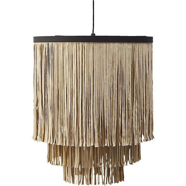 Fringe Faux Leather Strips Tiered Pendant Light