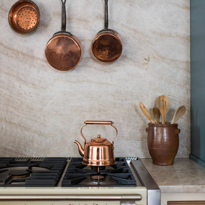 Kitchen pot rack with hanging copper pans