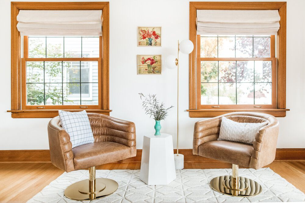 Living room with two large windows.