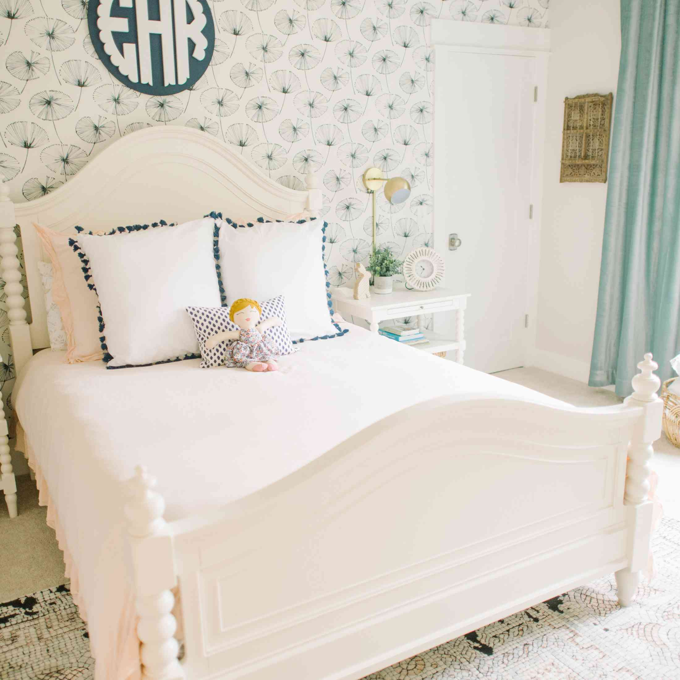 Preppy pink and blue bedroom with monogram wall decor