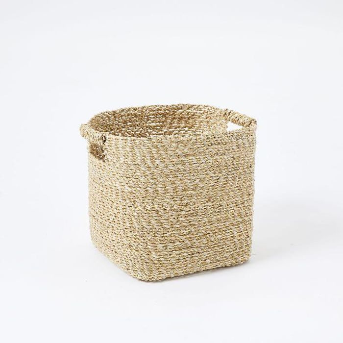 Metallic Woven Storage Basket
