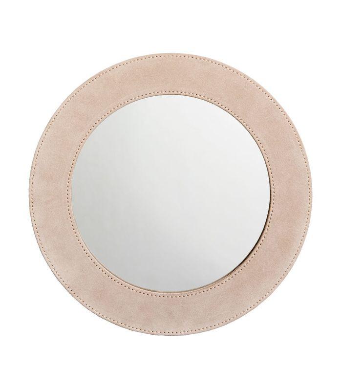 Round Suede Mirror