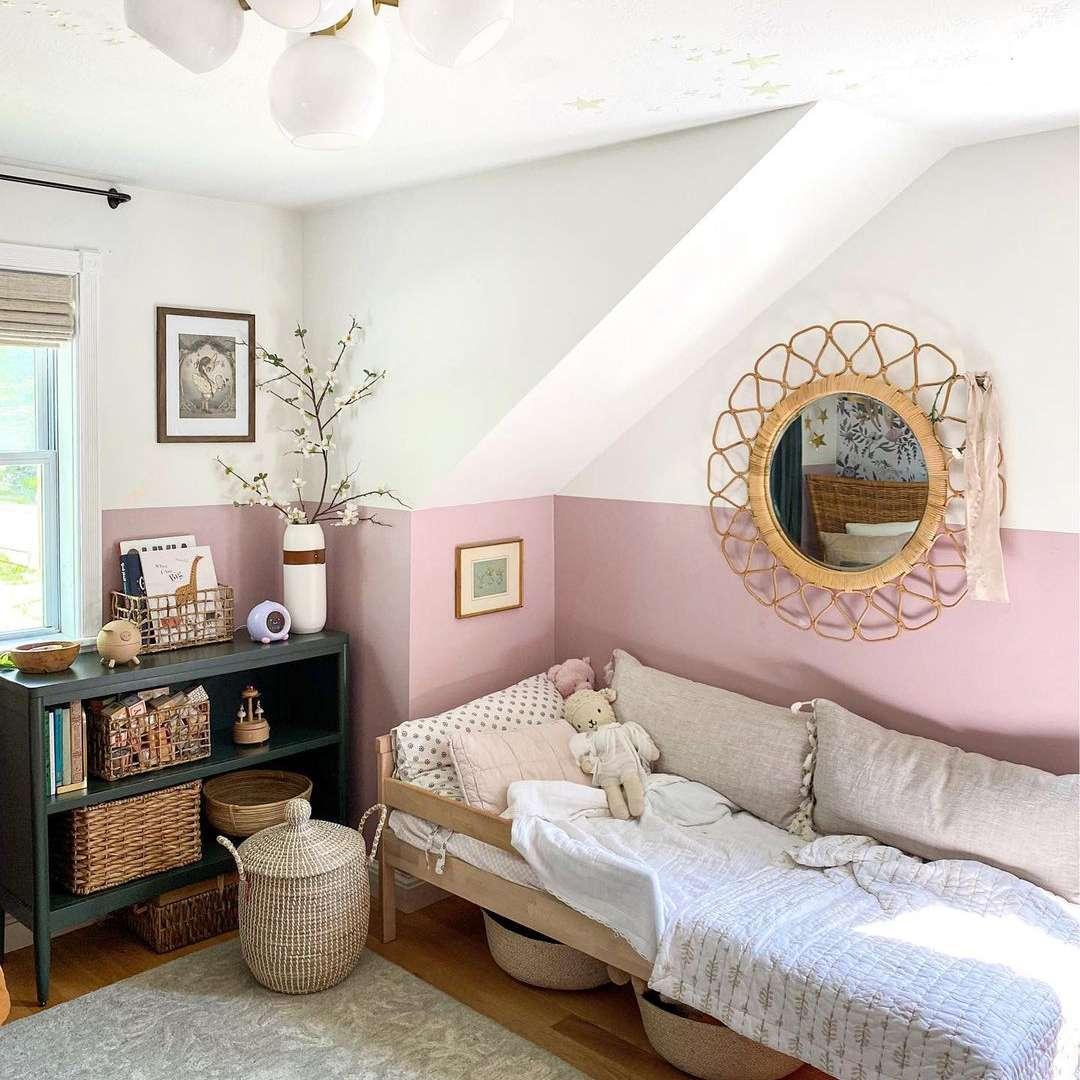 Pink bedroom with storage